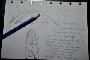 sketch of the rain